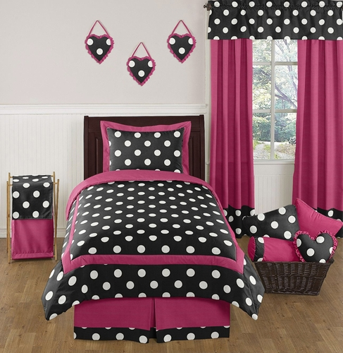 Hot Pink Black And White Polka Dot Childrens And Teen