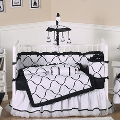 Black and White Princess Baby Bedding - 9 pc Crib Set