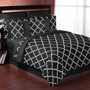 Black and White Trellis 3pc Full / Queen Bedding Set by S...