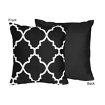 Black and White Trellis Decorative Accent Throw Pillow by Sweet Jojo Designs