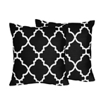 Black and White Trellis Decorative Accent Throw Pillows - Set of 2