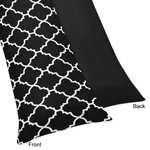 Black and White Trellis Full Length Double Zippered Body Pillow Case Cover