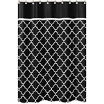 Black and White Trellis Kids Bathroom Fabric Bath Shower Curtain by Sweet Jojo Designs