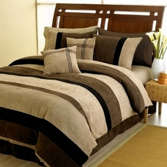 Black, Chocolate and Camel Jacaranda Striped MicroSuede 6-pc Luxury Duvet Cover Bedding Set