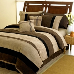 Black, Chocolate, Camel Jacaranda Microsuede 6pc Bed in a Bag