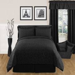 Black Diamond Jacquard Modern Contemporary 3pc Bedding Set