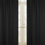 Black Diamond Jacquard Modern Window Treatment Panels by Sweet Jojo Designs - Set of 2