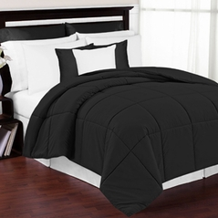 Black Down-Alternative Comforter<br> Available in Twin, Queen & King Sizes
