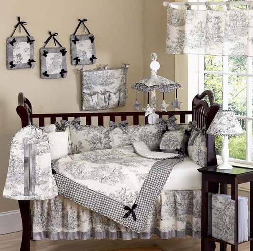 Black French Toile Baby Bedding - 9 pc Crib Set - Click to enlarge