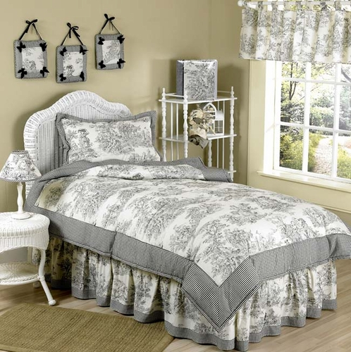 Black French Toile Childrens Bedding - 4 pc Twin Set - Click to enlarge
