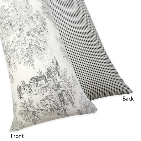 Black French Toile Full Length Double Zippered Body Pillow Case Cover by Sweet Jojo Designs - Click to enlarge