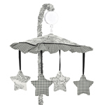 Black French Toile Musical Crib Mobile