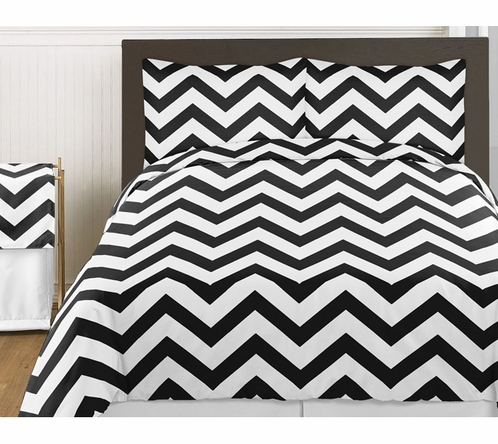 Black and White Chevron 3pc Childrens and Teen Zig Zag Full / Queen Bedding Set Collection - Click to enlarge