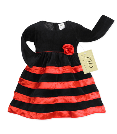 Black velvet and red satin holiday party dress by sweet jojo designs