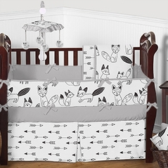 Grey, Black and White Fox and Arrow Baby Bedding - 9pc Crib Set by Sweet Jojo Designs