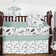 Mint, Black and White Fox and Arrow Baby Bedding - 9pc Crib Set by Sweet Jojo Designs