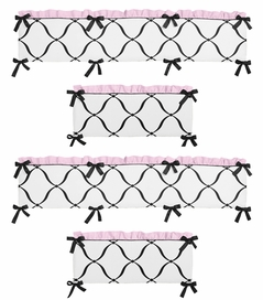 Pink, Black and White Princess Collection Crib Bumper by Sweet Jojo Designs
