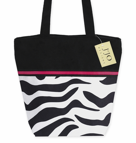 Black, White, Hot Pink, and Zebra Handbag (Great for Diaper Bag, Tote Bag, Purse or Beach Bag) - Click to enlarge