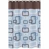 Blue and Brown Geo Bathroom Fabric Bath Shower Curtain