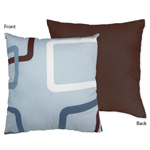 Blue and Brown Geo Decorative Accent Throw Pillow by Sweet Jojo Designs