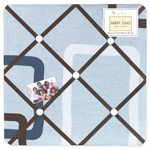 Blue and Brown Geo Fabric Memory/Memo Photo Bulletin Board