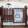 Blue and Brown Geo Modern Baby Bedding - 11pc Crib Set