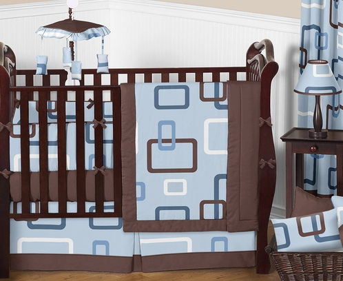 Blue and Brown Geo Modern Baby Bedding - 9 pc Crib Set - Click to enlarge