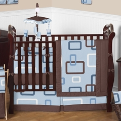 Blue and Brown Geo Modern Baby Bedding - 9 pc Crib Set