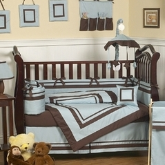 Blue and Brown Hotel Modern Baby Bedding - 9 pc Crib Set
