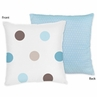 Blue and Brown Mod Dots Decorative Accent Throw Pillow by Sweet Jojo Designs
