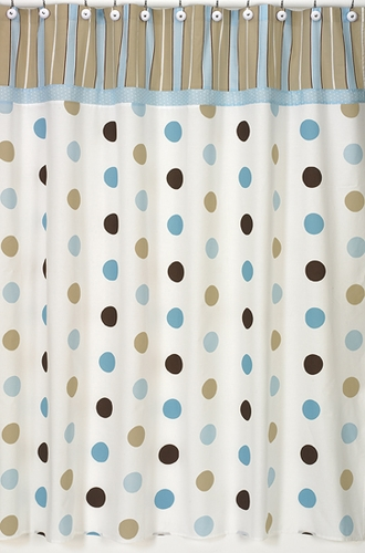 Blue And Brown Mod Dots Kids Bathroom Fabric Bath Shower Curtain Only