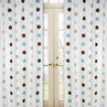 Blue and Brown Mod Dots Window Treatment Panels - Set of 2