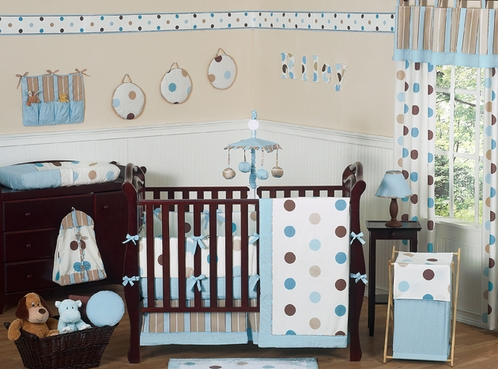 Blue and Brown Modern Polka Dot Baby Bedding - 9 pc Crib Set - Click to enlarge