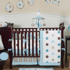 Blue and Brown Modern Polka Dot Baby Bedding - 9 pc Crib Set