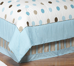 Blue and Brown Modern Polka Dots Queen Childrens Kids Bed Skirt by Sweet Jojo Designs