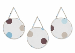 Blue and Brown Modern Polka Dots Wall Hanging Accessories by Sweet Jojo Designs