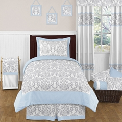 Blue and Gray Avery Childrens and Kids Bedding - 4pc Twin Set by Sweet Jojo Designs