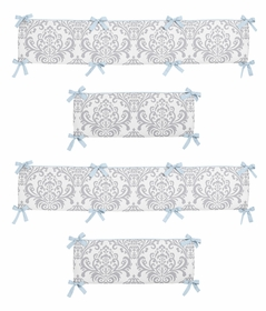 Blue and Gray Avery Collection Crib Bumper by Sweet Jojo Designs