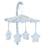 Blue and Gray Avery Musical Baby Crib Mobile by Sweet Joj...