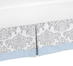 Blue and Gray Avery Queen Bed Skirt for Childrens Teen Bedding Sets by Sweet Jojo Designs