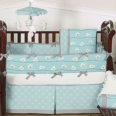 Blue and Gray Bird on a Wire Baby Bedding - 9 pc Crib Set by Sweet Jojo Designs