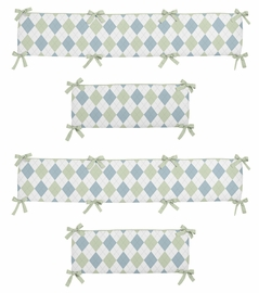 Blue and Green Argyle Collection Crib Bumper by Sweet Jojo Designs