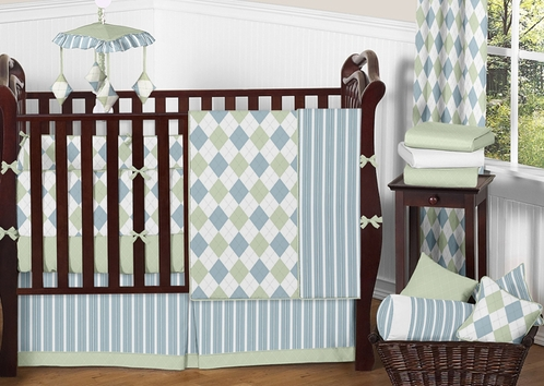 Blue and Green Argyle Baby Beddings - 9 pc Crib Set - Click to enlarge