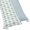 Blue and Green Argyle Full Length Double Zippered Body Pillow Case Cover