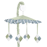 Blue and Green Argyle Musical Crib Mobile by Sweet Jojo Designs