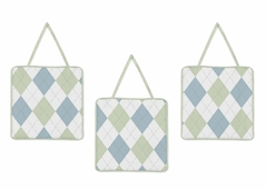 Blue and Green Argyle Wall Hanging Accessories by Sweet Jojo Designs