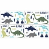 Blue and Green Mod Dinosaur Baby, Childrens and Kids Wall Decal Stickers by Sweet Jojo Designs - Set of 4 Sheets