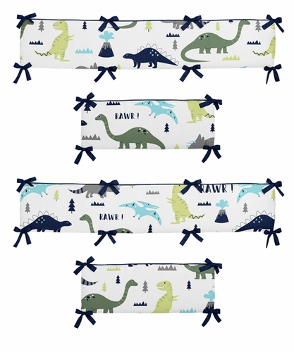 Blue And Green Mod Dinosaur Baby Crib Bumper Pad By Sweet