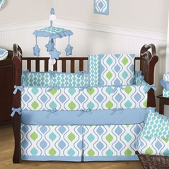 Blue and Green Sunny Day Baby Bedding - 9 pc Crib Set by Sweet Jojo Designs