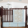 Blue and Taupe Hayden Baby Bedding - 11pc Crib Set by Sweet Jojo Designs